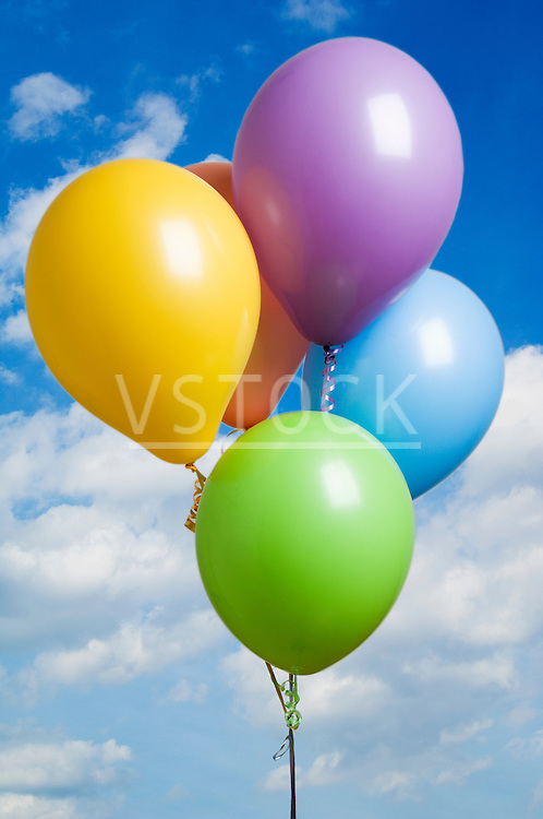 vertical balloon still life balloons colorful colourful helium party parties special occasion birthday holiday festive festivities celebration celebrating floating sky skies freedom