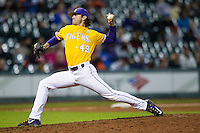 LSU Tigers pitcher Zac Person (49) delivers a pitch to the plate during the Houston College Classic against the Nebraska Cornhuskers on March 8, 2015 at Minute Maid Park in Houston, Texas. LSU defeated Nebraska 4-2. (Andrew Woolley/Four Seam Images)