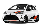 Stock pictures of low aggressive front three quarter view of a 2018 Toyota Yaris GRMN 3 Door Hatchback
