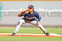 Gwinnett Braves first baseman Christian Marrero #33 stretches for a throw during the International League game against the Charlotte Knights at Knights Stadium on June 3, 2012 in Fort Mill, South Carolina.  The Braves defeated the Knights 5-1.  (Brian Westerholt/Four Seam Images)