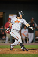 Bowie Baysox left fielder D.J. Stewart (22) at bat during a game against the Harrisburg Senators on May 16, 2017 at FNB Field in Harrisburg, Pennsylvania.  Bowie defeated Harrisburg 6-4.  (Mike Janes/Four Seam Images)