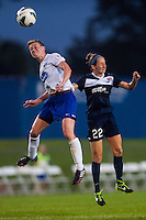 Boston Breakers midfielder Joanna Lohman (11) goes up for a header with Sky Blue FC midfielder Manya Makoski (22). Sky Blue FC and the Boston Breakers played to a 0-0 tie during a National Women's Soccer League (NWSL) match at Yurcak Field in Piscataway, NJ, on July 13, 2013.