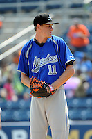 Aberdeen Ironbirds pitcher Sabastian Vader (11) during game against the Staten Island Yankees at Richmond County Bank Ballpark at St.George on July 18, 2012 in Staten Island, NY.  Staten Island defeated Aberdeen 3-2.  Tomasso DeRosa/Four Seam Images
