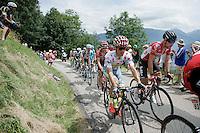 polka dot jersey contenders Rafal Majka (POL/Tinkoff) & Thomas De Gendt (BEL/Lotto-Soudal) coming up the first (uncategorised) climb together<br /> <br /> Stage 19:  Albertville › Saint-Gervais /Mont Blanc (146km)<br /> 103rd Tour de France 2016
