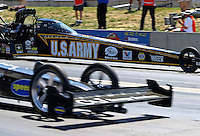 Jul. 21, 2013; Morrison, CO, USA: NHRA top fuel dragster driver Tony Schumacher during the Mile High Nationals at Bandimere Speedway. Mandatory Credit: Mark J. Rebilas-