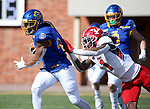 BROOKINGS, SD - MARCH 13: Pierre Strong Jr. #20 of the South Dakota State Jackrabbits tries to slip the grasp of Zaire Jones #1 of the Youngstown State Penguins at Dana J. Dykhouse Stadium on March 13, 2021 in Brookings, South Dakota. (Photo by Dave Eggen/Inertia)