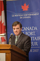 Montreal (Qc) CANADA - March 2007  File Photo - Jim Flaherty, Finance Minister of Canada