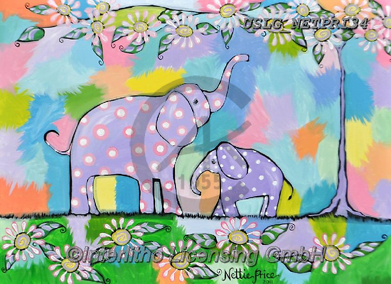 Nettie,REALISTIC ANIMALS, REALISTISCHE TIERE, ANIMALES REALISTICOS, paintings+++++FamilyElephants,USLGNETPRI34,#A#, EVERYDAY pop art
