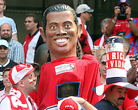 A fan from Costa Rica dressed as a giant Ronaldinho. Poland defeated Costa Rica 2-1 in their FIFA World Cup Group A match at FIFA World Cup Stadium, Hanover, Germany, June 20, 2006.