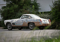 BNPS.co.uk (01202 558833)<br /> Pic: Bonhams/BNPS<br /> <br /> A unique Jaguar car that has languished in a barn for over 40 years is expected to sell for over £200,000 despite its rusting appearance. <br /> <br /> The 1955 Jaguar XK140 was sent to the celebrated Italian coachbuilder Ghia so that a chic body could be built on top of the British made chassis.<br /> <br /> It was one of only four XK140s rebodied by the Turin company, with each one being different.