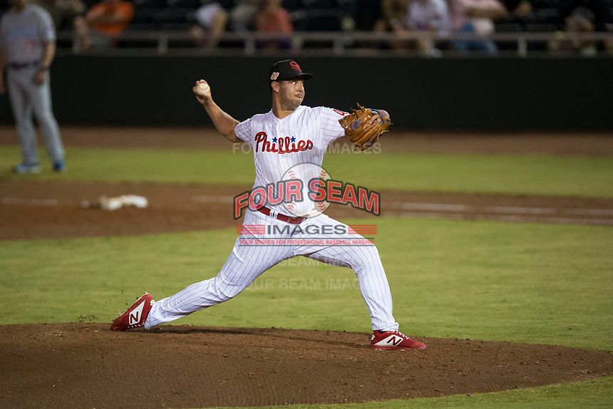 Scottsdale Scorpions relief pitcher Luke Leftwich (44), of the Philadelphia Phillies organization, delivers a pitch during an Arizona Fall League game against the Mesa Solar Sox on October 9, 2018 at Scottsdale Stadium in Scottsdale, Arizona. The Solar Sox defeated the Scorpions 4-3. (Zachary Lucy/Four Seam Images)