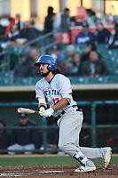 Santiago Perez (17) of the Stockton Ports bats against the Lancaster JetHawks at The Hanger on May 12, 2017 in Lancaster, California. Lancaster defeated Stockton, 7-2. (Larry Goren/Four Seam Images)