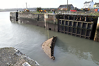 Pictured: Milford Dock gates have collapsed because of the strong winds, which has closed the docks off and trapping 15 or so trawlers inside in Pembrokeshire, Wales. Tuesday 17 October 2017<br /> Re: Remnants of Hurricane Ophelia have caused strong gusts of wind to Wales and other areas of the UK.<br /> The hurricane, made its way from the Azores in the Atlantic Ocean, and weakened to a storm when it arrived.
