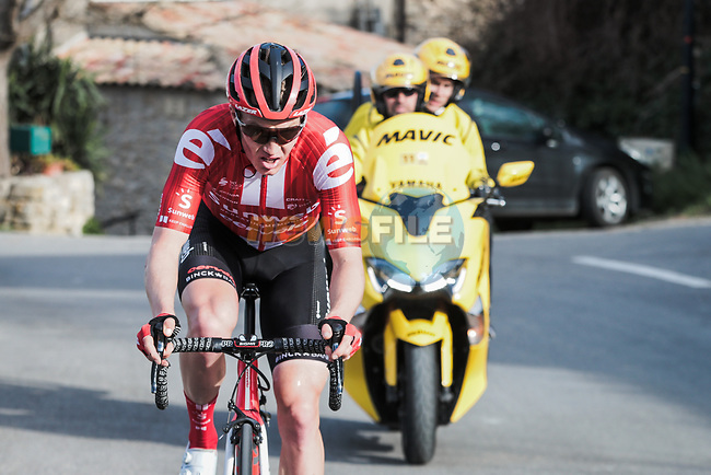 Tiesj Benoot (BEL) Team Sunweb attacks during Stage 6 of the 78th edition of Paris-Nice 2020, running 161.5km from Sorgues to Apt, France. 13th March 2020.<br /> Picture: ASO/Fabien Boukla | Cyclefile<br /> All photos usage must carry mandatory copyright credit (© Cyclefile | ASO/Fabien Boukla)