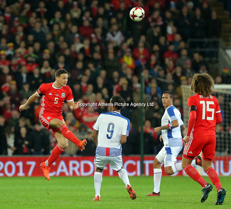 James Chester of Wales heads the ball forward during the international friendly soccer match between Wales and Panama at Cardiff City Stadium, Cardiff, Wales, UK. Tuesday 14 November 2017.