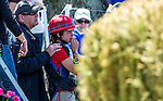 APRIL 26, 2014: Kaitlin Spurlock (USA), watches as EXPEDIENCE is tended to after a refusal in the Cross County Test at the Rolex Kentucky 3-Day Event at the Kentucky Horse Park in Lexington, KY. Jon Durr/ESW/CSM