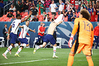 DENVER, CO - JUNE 6: Christian Pulisic #10 of the United States celebrates his PK goal during a game between Mexico and USMNT at Empower Field at Mile High on June 6, 2021 in Denver, Colorado.