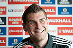 Sam Vokes speaking at the Football Association of Wales press conference at the St Davids Hotel in Cardiff Bay ahead of this weekend's game against Israel.