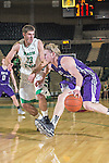 North Texas Mean Green forward Colin Voss (33) and Stephen F. Austin Lumberjacks forward Jacob Parker (34) in action during the game between the Stephen F. Austin Lumberjacks and the North Texas Mean Green at the Super Pit arena in Denton, Texas. SFA defeats UNT 87 to 53.