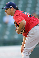 Oklahoma CIty pitcher Guilermo Moscoso on Tuesday August 24th, 2010 at the Dell Diamond in Round Rock, Texas.  (Photo by Andrew Woolley / Four Seam Images)