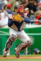 13 April 2008: Atlanta Braves' catcher Brian McCann in action against the Washington Nationals at Nationals Park, in Washington, DC. The Nationals ended their 9-game losing streak by defeating the Braves 5-4 in the last game of their 3-game series...Mandatory Photo Credit: Ed Wolfstein Photo