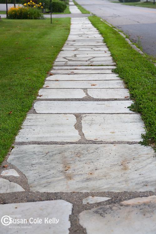 Marble sidewalk in Manchester Village, Vermont, USA