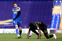13th September 2020; Portman Road, Ipswich, Suffolk, England, English League One Footballl, Ipswich Town versus Wigan Athletic; Stephen Ward of Ipswich Town passes the ball round Emeka Obi of Wigan Athletic