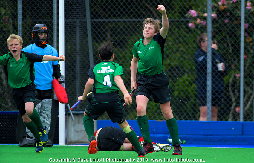 Action from the 2019 Hatch Cup Under-13 Boys' Hockey Tournament semifinal between Canterbury and South Canterbury at Fitzherbert Park Twin Turfs in Palmerston North, New Zealand on Friday, 11 October 2019. Photo: Dave Lintott / lintottphoto.co.nz