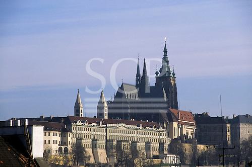 Prague, Czech Republic. Hradcany castle and St Vitus Cathedral.