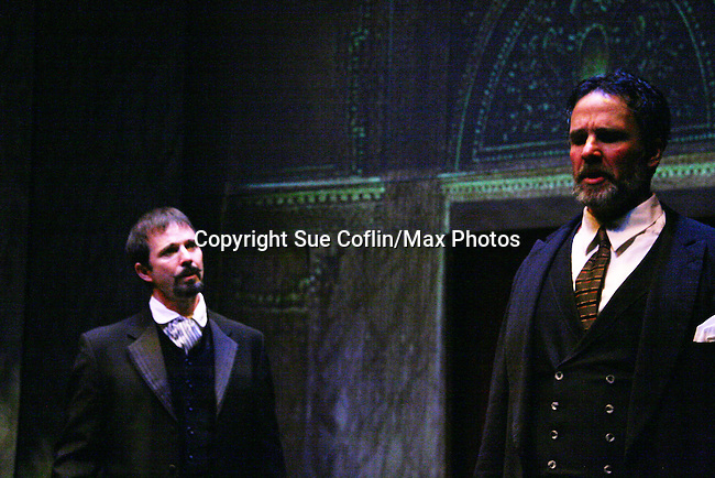 """Sterling Swann and Chris Whipple as Philipstown Depot Theatre presents The Secret Garden on November 15, 2009 in Garrison, New York. The musical The Secret Garden is the story of """"Mary Lennox"""", a rich spoiled child who finds herself suddenly an orphan when cholera wipes out the entire Indian village where she was living with her parents. She is sent to live in England with her only surviving relative, an uncle who has lived an unhappy life since the death of his wife 10 years ago. """"Archibald's son Colin"""", has been ignored by his father who sees Colin only as the cause of his wife's death.This is essentially the story of three lost, unhappy souls who, together, learn how to live again while bringing Colin's mother's garden back to life. (Photo by Sue Coflin/Max Photos)...."""