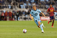 SAINT PAUL, MN - APRIL 24: Osvaldo Alonso #6 of Minnesota United FC attacks the ball during a game between Real Salt Lake and Minnesota United FC at Allianz Field on April 24, 2021 in Saint Paul, Minnesota.
