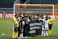 SAN JOSE, CA - SEPTEMBER 16: The San Jose Earthquakes and Portland Timbers hold up a banner before a game between Portland Timbers and San Jose Earthquakes at Earthquakes Stadium on September 16, 2020 in San Jose, California.