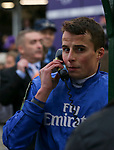 November 2, 2018: Jockey William Buick who rode Line of Duty #5 on the phone with he stewards after winning the Juvenile Turf on Breeders' Cup World Championship Friday at Churchill Downs on November 2, 2018 in Louisville, Kentucky.Casey Phillips/Eclipse Sportswire/CSM