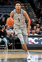 WASHINGTON, DC - FEBRUARY 19: Jamorko Pickett #1 of Georgetown dribbles up court during a game between Providence and Georgetown at Capital One Arena on February 19, 2020 in Washington, DC.