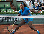 May 28,2016:  Serena Williams (USA) challenged  Kristina Mladenovic (FRA) 6-4, 6-6 when the rain began at  Roland Garros being played at Stade Roland Garros in Paris, .  ©Leslie Billman/Tennisclix