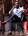 "Michael Luwoye from the 'Hamilton' cast during a Q & A before The Rockefeller Foundation and The Gilder Lehrman Institute of American History sponsored High School student #EduHam matinee performance of ""Hamilton"" at the Richard Rodgers Theatre on June 6, 2018 in New York City."