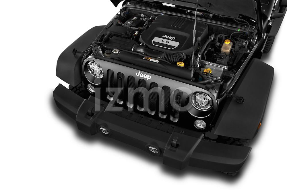 Car Stock 2017 JEEP Wrangler Rubicon 5 Door SUV Engine  high angle detail view