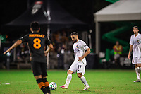 LAKE BUENA VISTA, FL - JULY 23: Rolf Feltscher #25 of the LA Galaxy defends the ball during a game between Los Angeles Galaxy and Houston Dynamo at ESPN Wide World of Sports on July 23, 2020 in Lake Buena Vista, Florida.