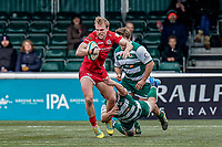 Leroy Van Dam of Jersey Reds during the Championship Cup QF match between Ealing Trailfinders and Jersey Reds at Castle Bar, West Ealing, England  on 22 February 2020. Photo by David Horn.