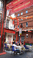 A far cry from the empty, desolate streets of 'lockdown' days, London's Chinatown has embraced the new outdoor dining culture and the streets are busier and restaurants doing good business again in Gerrard Street, London Saturday August 1st 2020<br /> <br /> Photo by Keith Mayhew