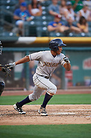 Magneuris Sierra (8) of the New Orleans Baby Cakes bats against the Salt Lake Bees at Smith's Ballpark on June 8, 2018 in Salt Lake City, Utah. Salt Lake defeated New Orleans 4-0.  (Stephen Smith/Four Seam Images)
