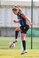 Ellen Martens (2) of Club Brugge makes a control,during a female soccer game between Standard Femina de Liege and Club Brugge YLA on the 2nd matchday in play off 1 of the 2020 - 2021 season of Belgian Scooore Womens Super League , saturday 17 th of April 2021  in Angleur , Belgium . PHOTO SPORTPIX.BE | SPP | SEVIL OKTEM