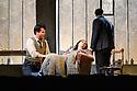 "English National Opera present their fourth revival of Jonathan Miller's production of Puccini's ""La Boheme"", in which Natalya Romaniw makes her ENO debut. Cast is: Natalya Romaniw (Mimi), Jonathan Tetelman (Rodolfo), Nicholas Lester (Marcello), Simon Butteriss (Benoit/Alcindoro), Nadine Benjamin (Musetta), David Soar (Colline), Bozidar Smiljanic (Schaunard). Picture shows: Jonathan Tetelman (Rodolfo), Natalya Romaniw (Mimi), Bozidar Smiljanic (Schaunard)"