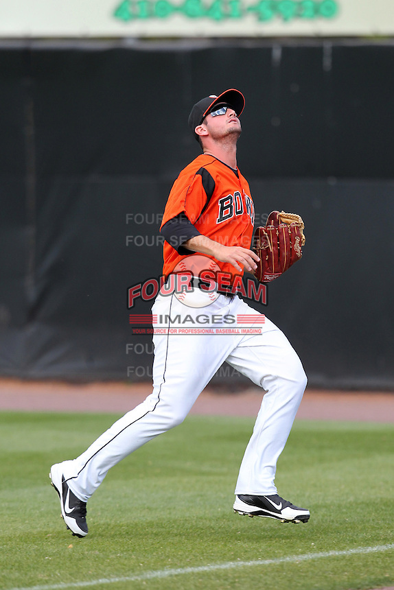 Bowie BaySox outfielder Robbie Widlansky #20 during a game against the Harrisburg Senators at Prince George's Stadium on April 8, 2012 in Bowie, Maryland.  Harrisburg defeated Bowie 5-2.  (Mike Janes/Four Seam Images)