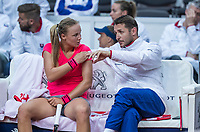 Bratislava, Slovenia, April 22, 2017,  FedCup: Slovakia-Netherlands, seccond rubber : Rebecca Sramkova (SVK) on the Slovakian bench with captain Matej Liptak<br /> Photo: Tennisimages/Henk Koster