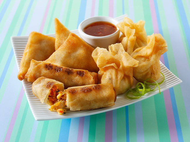 Traditional chinese Spring rolls, samosas and dim sum