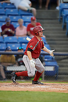 Altoona Curve catcher Jackson Williams (43) follows through on a swing during a game against the Binghamton Rumble Ponies on May 17, 2017 at NYSEG Stadium in Binghamton, New York.  Altoona defeated Binghamton 8-6.  (Mike Janes/Four Seam Images)