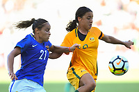 Carson, CA - Thursday August 03, 2017: Monica, Sam Kerr during a 2017 Tournament of Nations match between the women's national teams of Australia (AUS) and Brazil (BRA) at the StubHub Center.