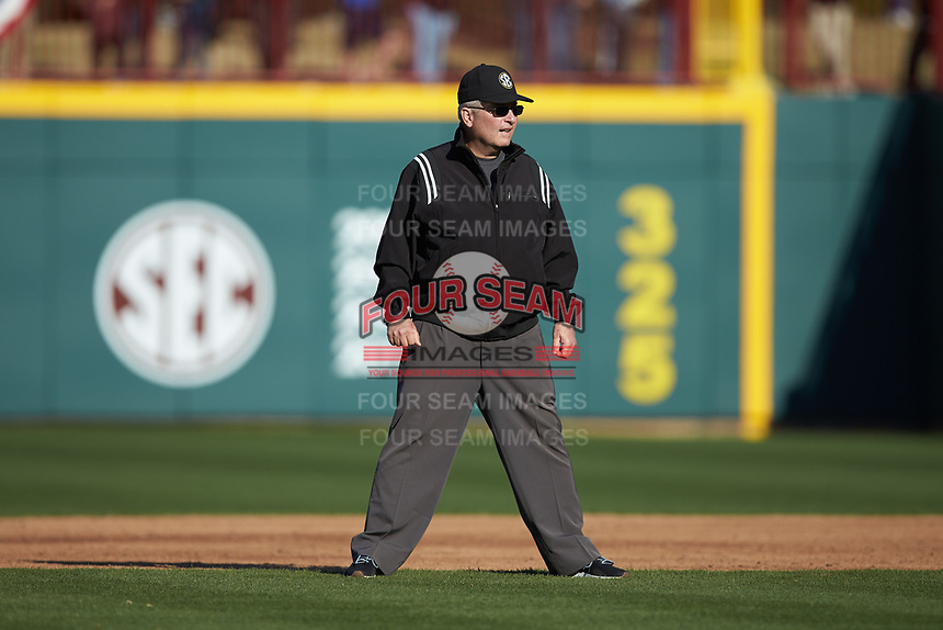 Second base umpire Richie Tallent works the NCAA baseball game between the Holy Cross Crusaders and the South Carolina Gamecocks at Founders Park on February 15, 2020 in Columbia, South Carolina. The Gamecocks defeated the Crusaders 9-4.  (Brian Westerholt/Four Seam Images)