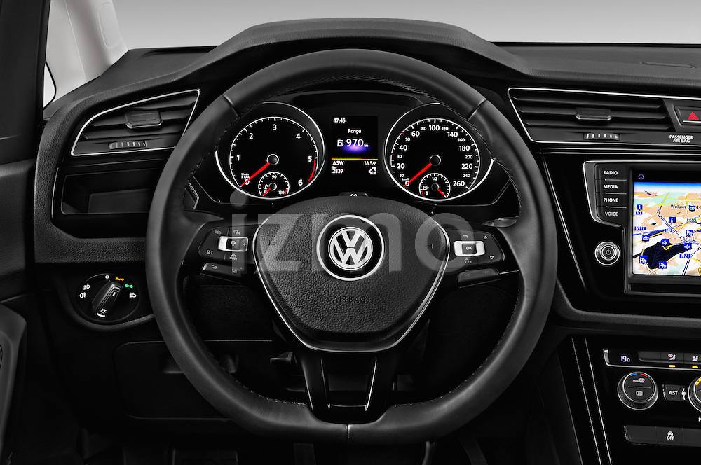 Car pictures of steering wheel view of a 2016 Volkswagen Touran Highline 5 Door Mini Mpv Steering Wheel
